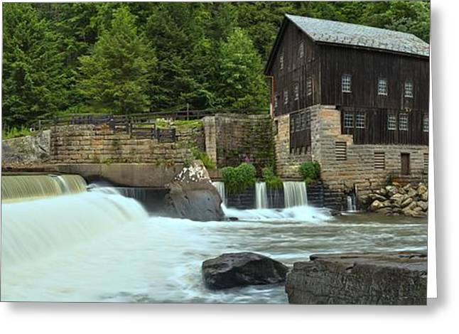 Mcconnells Mill Greeting Cards - McConnells Mill Medium Panorama Greeting Card by Adam Jewell