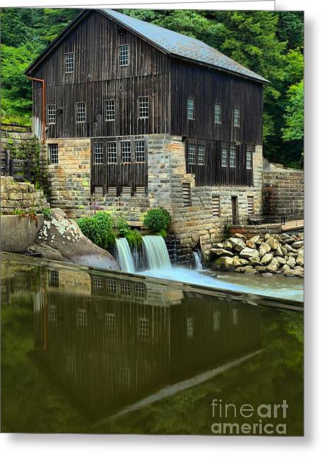 Mcconnells Mill Greeting Cards - McConnells Mill Portrait Reflections Greeting Card by Adam Jewell