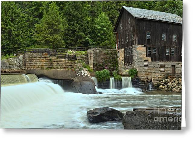 Mcconnells Mill Greeting Cards - McConnells Mill State Park Spillway Greeting Card by Adam Jewell