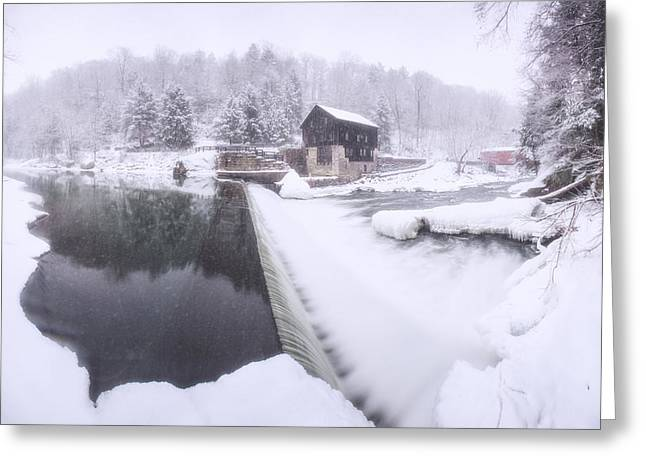 Grist Mill Greeting Cards - Mcconnells mill winter  Greeting Card by Emmanuel Panagiotakis