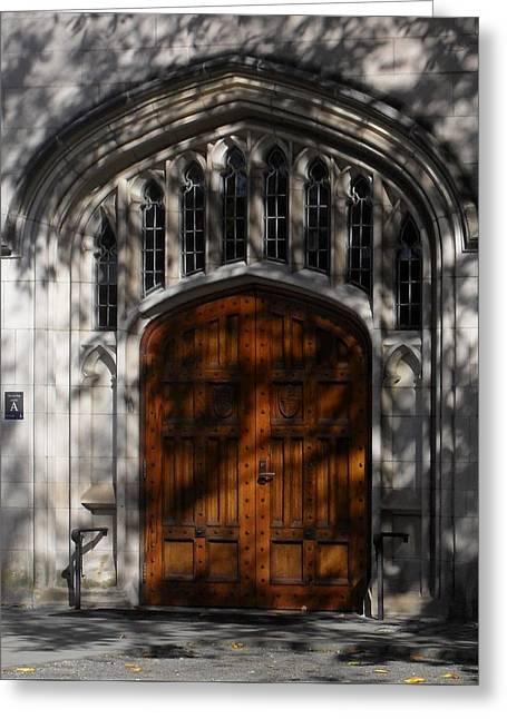 Mccosh Hall Doorway Greeting Card by Val Arie