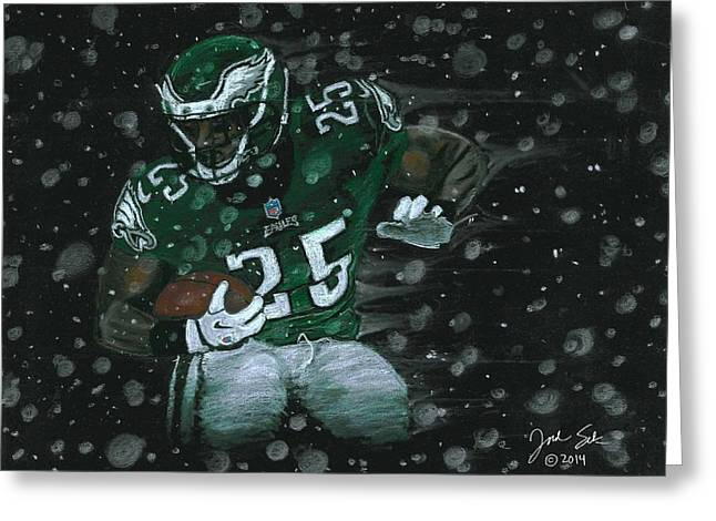 Eagles Pastels Greeting Cards - Shady in the snow Greeting Card by Jordan Spector