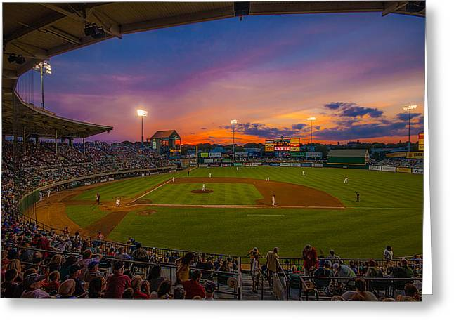 Baseball Game Greeting Cards - McCoy Stadium Sunset Greeting Card by Tom Gort