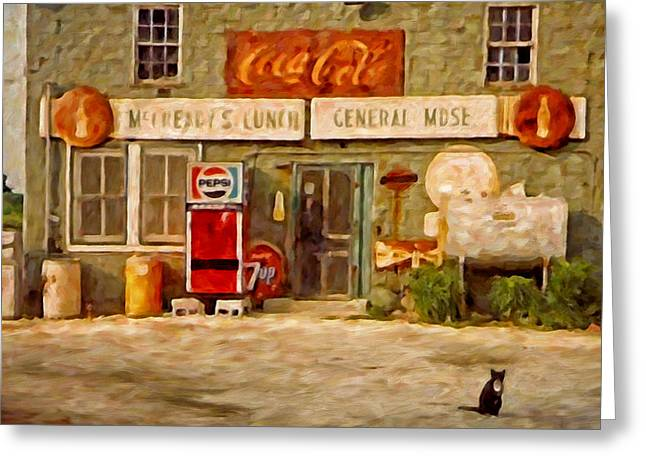 Seven-up Sign Greeting Cards - McCreadys Greeting Card by Michael Pickett