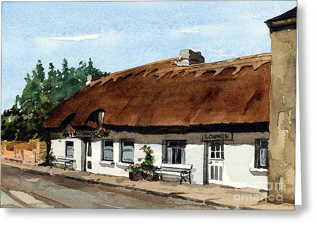Thatch Greeting Cards - McDonaghs Pub  Oranmore Galway Greeting Card by Val Byrne