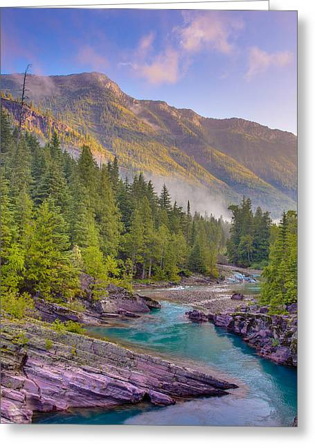 Hdr Landscape Greeting Cards - McDonald Creek Greeting Card by Adam Mateo Fierro