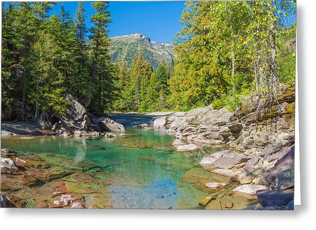 Mcdonalds Greeting Cards - Mcdonald Creek Along Going-to-the-sun Greeting Card by Panoramic Images