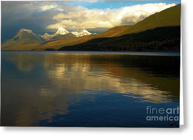 West Glacier Greeting Cards - McDonald Sunset Greeting Card by Adam Jewell
