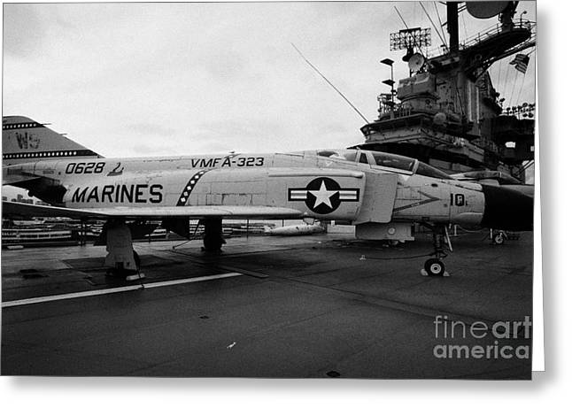 Manhatan Greeting Cards - McDonnell f4 F-4N Phantom on display on the flight deck at the Intrepid Sea Air Space Museum Greeting Card by Joe Fox