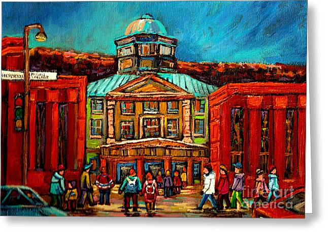 Montreal Streets Paintings Greeting Cards - Mcgill Gates Montreal Greeting Card by Carole Spandau
