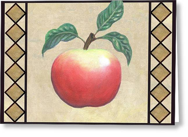 Folk Art Greeting Cards - McIntosh Apple Greeting Card by Linda Mears