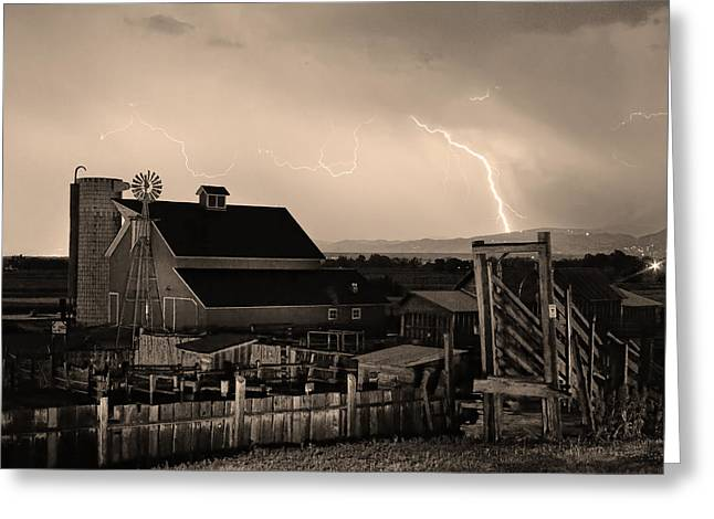 Lohr-mcintosh Farm Greeting Cards - McIntosh Farm Lightning Sepia Thunderstorm Greeting Card by James BO  Insogna