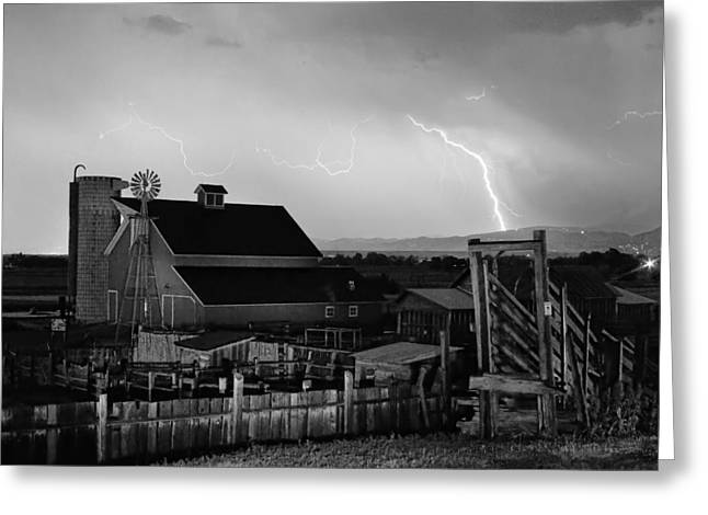 The Nature Center Greeting Cards - McIntosh Farm Lightning Thunderstorm Black and White Greeting Card by James BO  Insogna