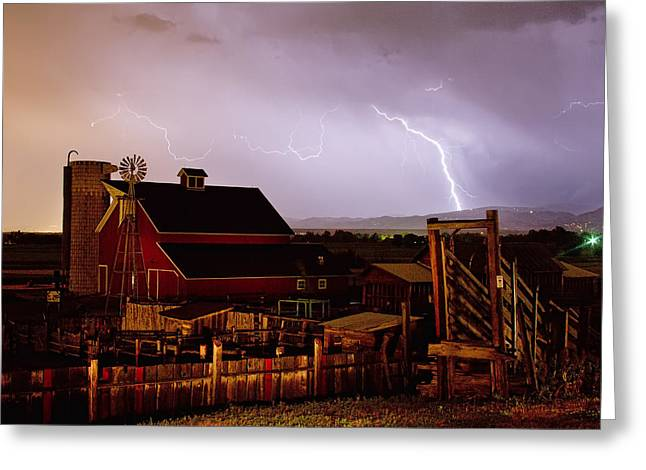 Lohr-mcintosh Farm Greeting Cards - McIntosh Farm Lightning Thunderstorm Greeting Card by James BO  Insogna