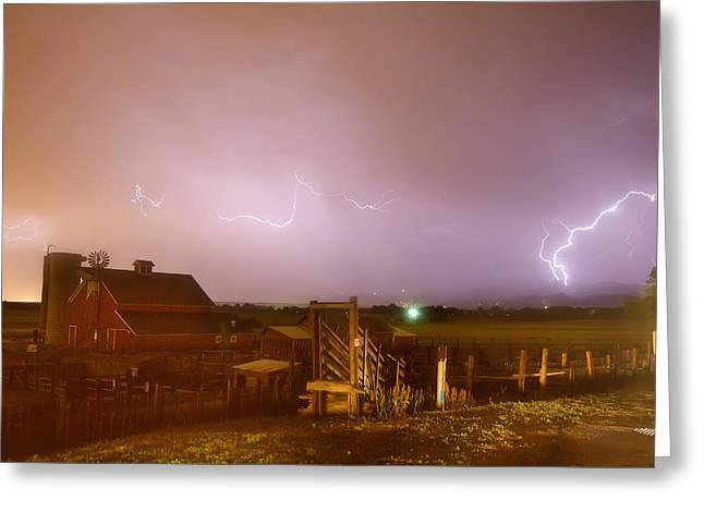 Lohr-mcintosh Farm Greeting Cards - McIntosh Farm Lightning Thunderstorm View Greeting Card by James BO  Insogna