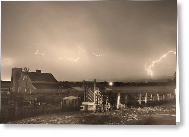 Lohr-mcintosh Farm Greeting Cards - McIntosh Farm Lightning Thunderstorm View Sepia Greeting Card by James BO  Insogna