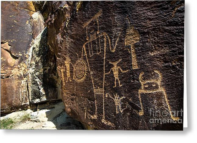 Ancient Indian Art Greeting Cards - Mckee Springs Petroglyphs - Dinosaur National Monument Greeting Card by Gary Whitton
