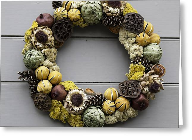Living History Greeting Cards - McKenzie Apothecary Wreath Greeting Card by Teresa Mucha