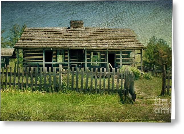 Mountain Cabin Greeting Cards - McKenzie Cabin Greeting Card by Lena Auxier