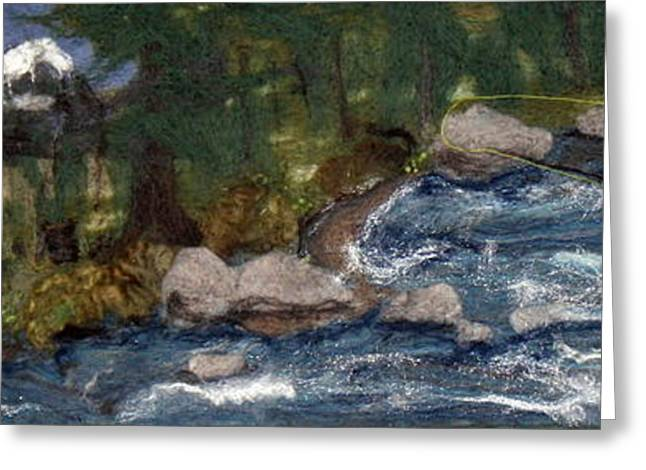 River Tapestries - Textiles Greeting Cards - McKenzie River Oregon Fly Fishing Greeting Card by Kyla Corbett