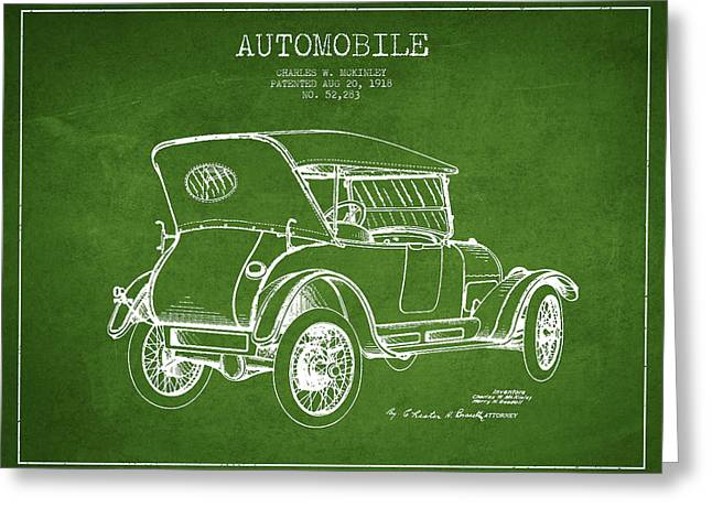 Driving Greeting Cards - McKinley Automobile Patent Drawing from 1918 - Green Greeting Card by Aged Pixel