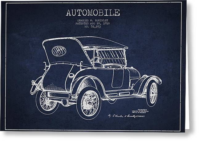 Cord Greeting Cards - McKinley Automobile Patent Drawing from 1918 - Navy Blue Greeting Card by Aged Pixel
