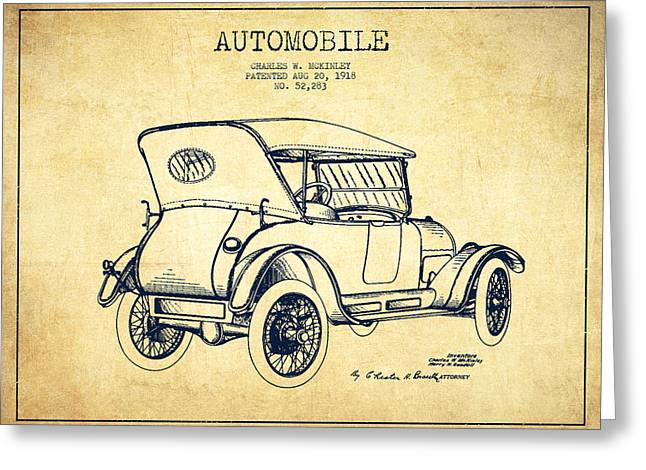 Cord Greeting Cards - McKinley Automobile Patent Drawing from 1918 - Vintage Greeting Card by Aged Pixel