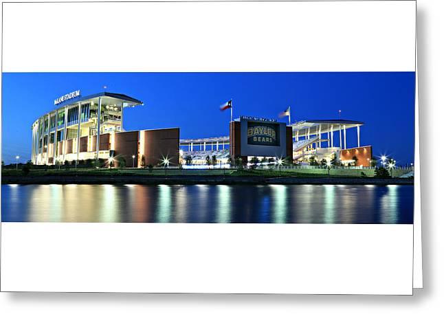 Runner Greeting Cards - McLane Stadium Panoramic Greeting Card by Stephen Stookey