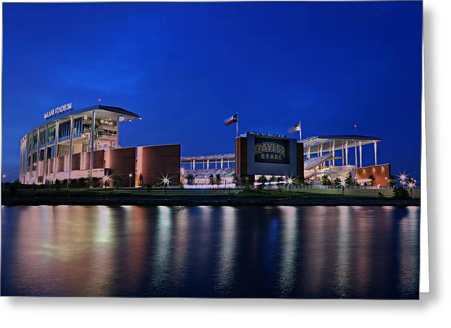 Runner Greeting Cards - McLane Stadium Evening Greeting Card by Stephen Stookey