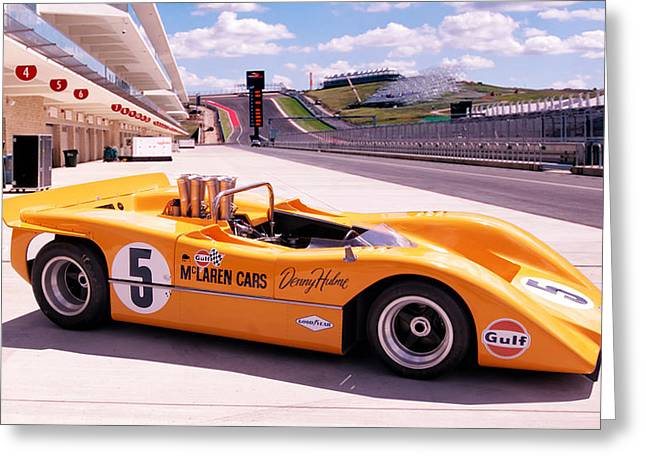 Denny Greeting Cards - McLaren M8A Greeting Card by Peter Chilelli