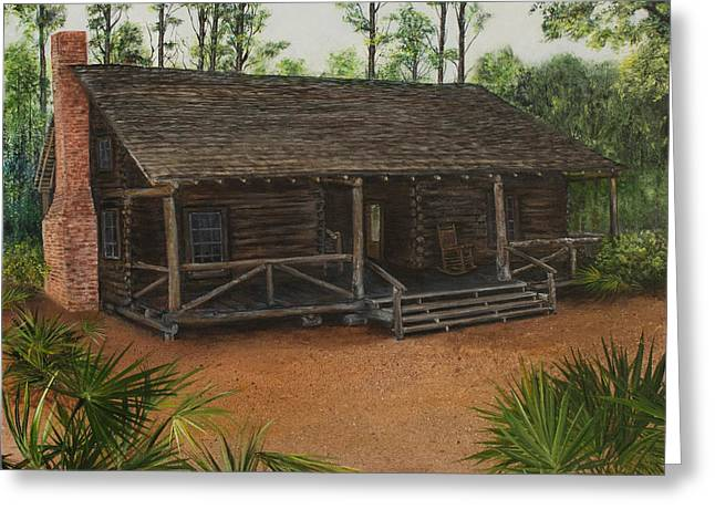 Recently Sold -  - Log Cabins Greeting Cards - McMullen Log Cabin Greeting Card by Nancy Lauby