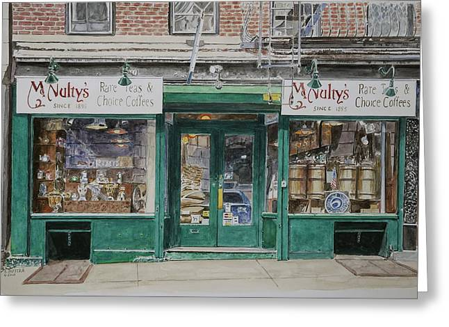 New York City Fire Escapes Greeting Cards - McNultys Coffee Greeting Card by Anthony Butera