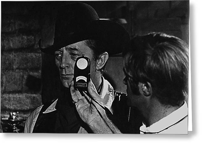 Rooster Cogburn Greeting Cards - McQ and Rooster Cogburn homage Robert Mitchum And Harry Stradling Jr Greeting Card by David Lee Guss