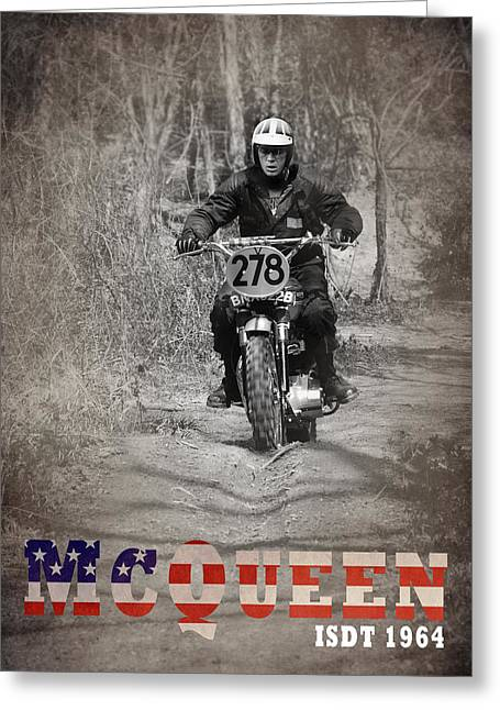 Old Motorcycle Greeting Cards - McQueen ISDT 1964 Greeting Card by Mark Rogan