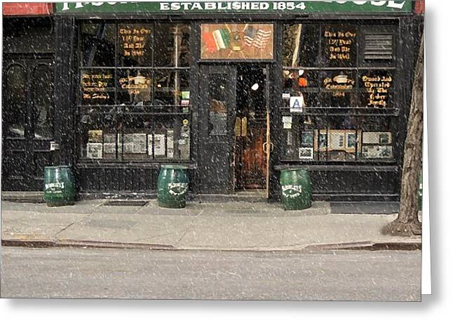Saloons Mixed Media Greeting Cards - McSorleys Old Ale House Greeting Card by Michael Braham