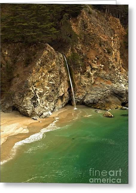 Big Sir California Greeting Cards - McWay Into The Pacific Greeting Card by Adam Jewell
