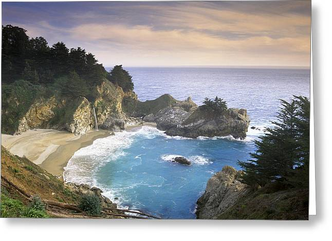Big Sur California Greeting Cards - McWay Cove Falls Big Sur Greeting Card by Tim Fitzharris