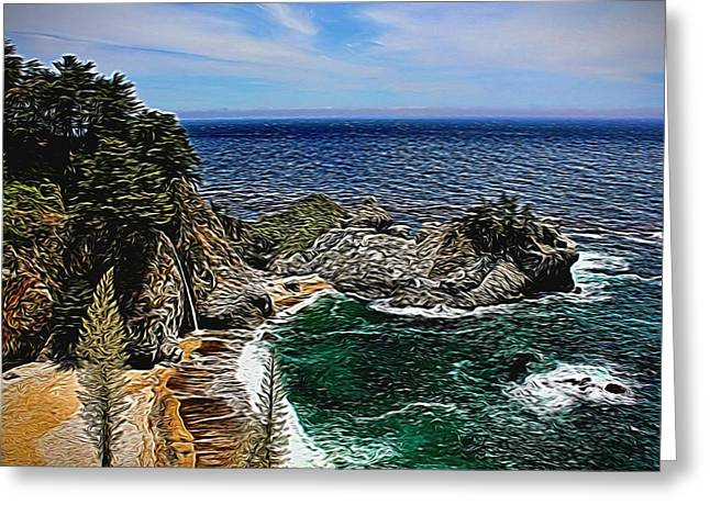 California Ocean Photography Greeting Cards - McWay Cove Painted Greeting Card by Judy Vincent
