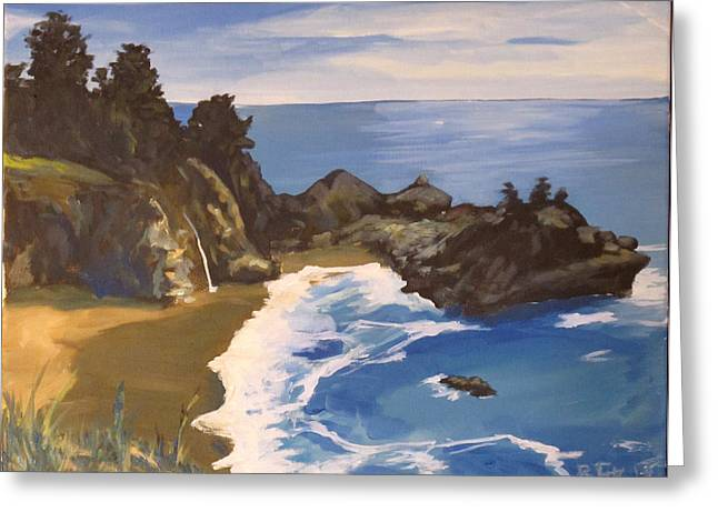 Big Sur Beach Paintings Greeting Cards - McWay Cove Greeting Card by Rob Fitzsimmons