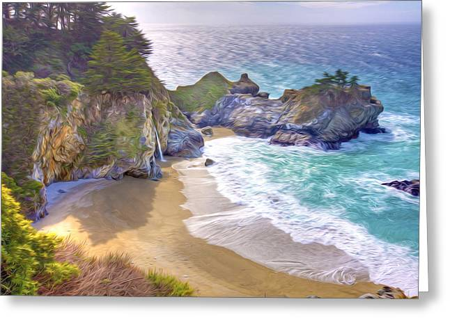 Recently Sold -  - Pfeiffer Beach Greeting Cards - McWay Creek waterfall on the beach Greeting Card by Lanjee Chee