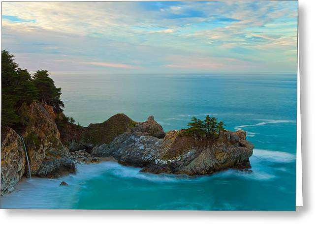 Big Sur Beach Greeting Cards - McWay Falls At Sunrise Greeting Card by Jonathan Nguyen