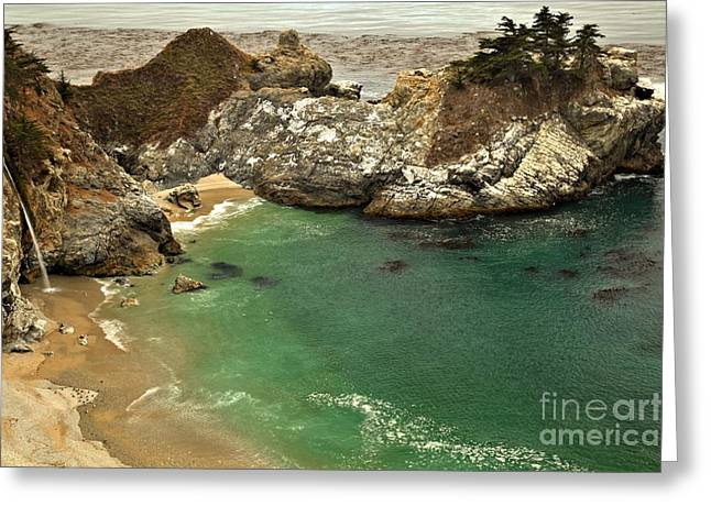 Big Sir California Greeting Cards - McWay Falling Into The Pacific Greeting Card by Adam Jewell