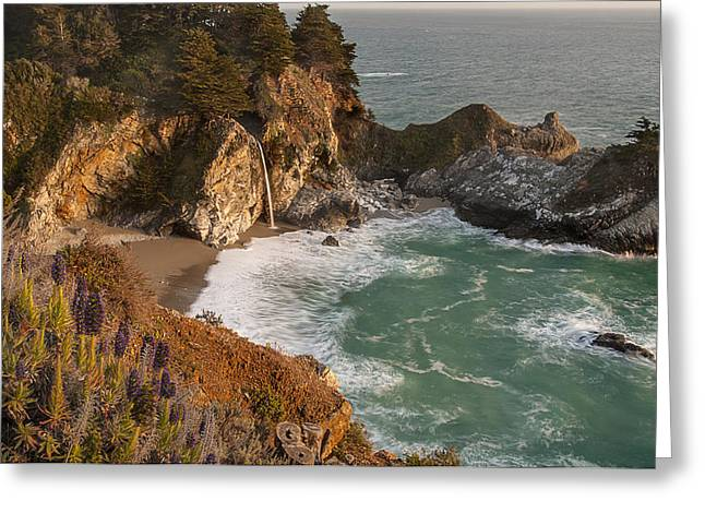 Big Sur Beach Greeting Cards - McWay Falls 5 Greeting Card by Lee Kirchhevel