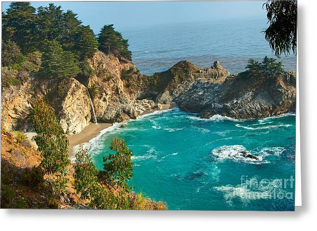 Recently Sold -  - Pfeiffer Beach Greeting Cards - McWay Falls along the Big Sur Coast. Greeting Card by Jamie Pham
