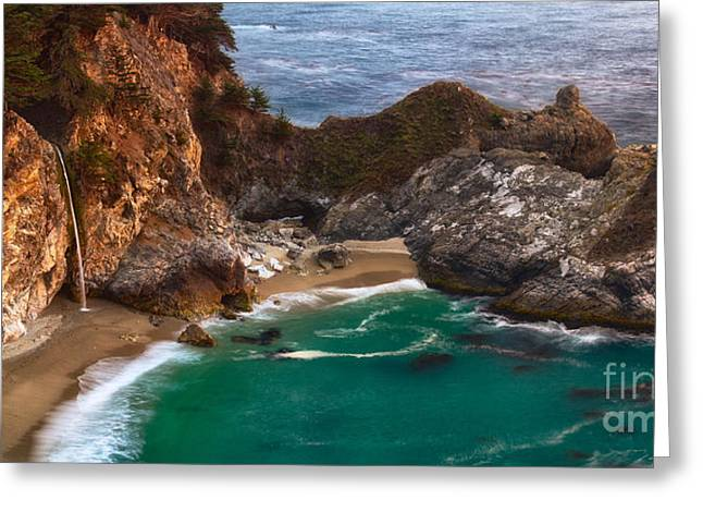 Blue Green Wave Greeting Cards - McWay Falls Greeting Card by Anthony Bonafede