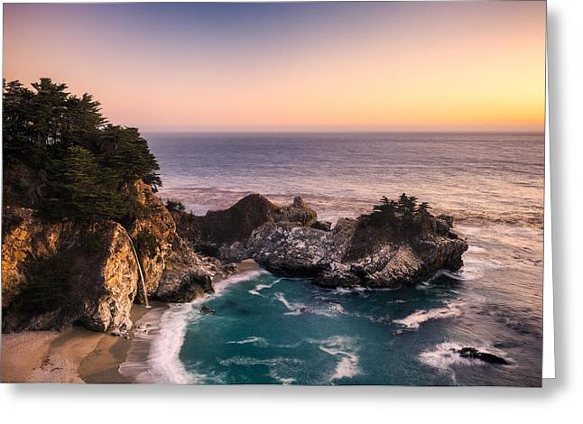 Big Sur California Greeting Cards - McWay Falls at Dusk Greeting Card by Alexander Kunz