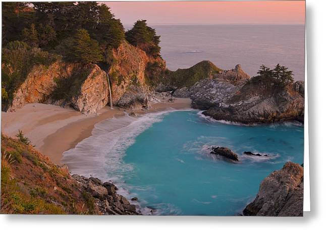 Big Sur Greeting Cards - McWay Falls At Sunset Greeting Card by Stephen  Vecchiotti