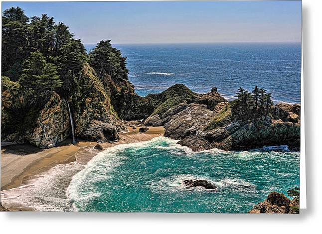 Big Sur California Greeting Cards - McWay Falls Beach Greeting Card by Lara Ellis