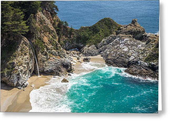 Ghose Greeting Cards - McWay Falls Big Sur Greeting Card by Priya Ghose