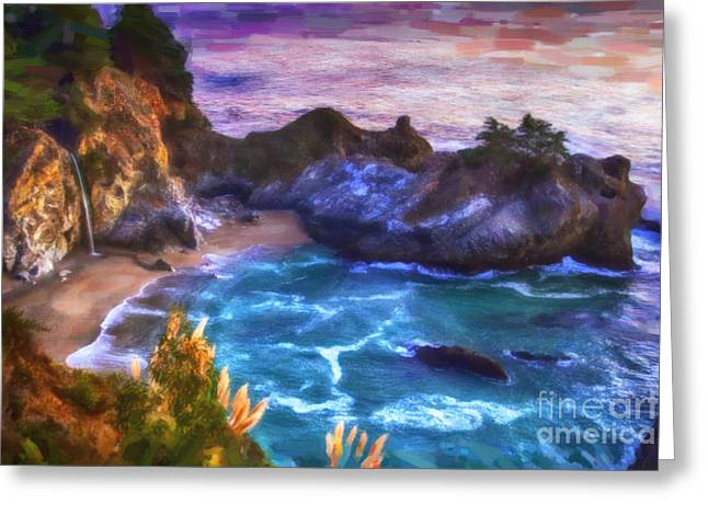 Big Sur Beach Paintings Greeting Cards - McWay Falls Greeting Card by David Millenheft